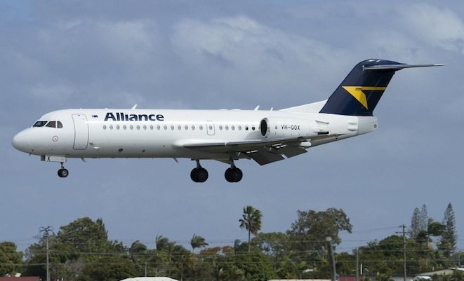 One of Alliance's new Fokker 70s on approach to Mackay. (Dave Parer)