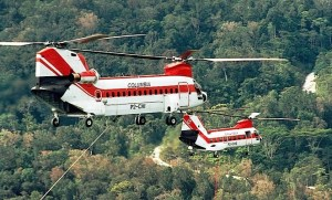 Columbia operates Model 234 (left) and Vertol 107-11 (right)commercial versions of the CH-47 and CH-46 respectively. (Columbia Helicopters)
