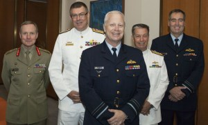 LTGEN David Morrison, VADM Ray Griggs, AIRMSHL Mark Binskin, RADM Tim Barrett and AIRMSHL Geoff Brown at this morning's announcement. (Defence)