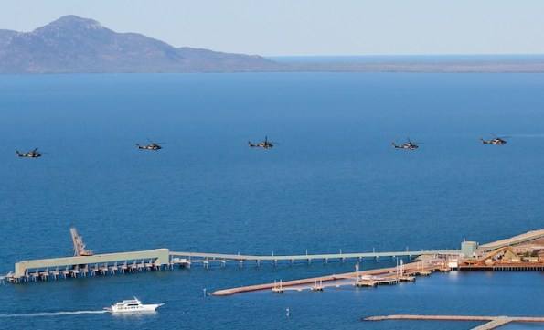 Black Hawks fly over Townsville. (Defence)