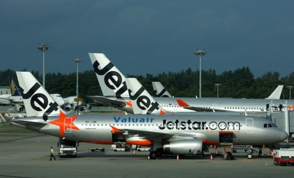 """Jetstar aircraft in """"overcooked"""" Singapore. (Rob Finlayson)"""