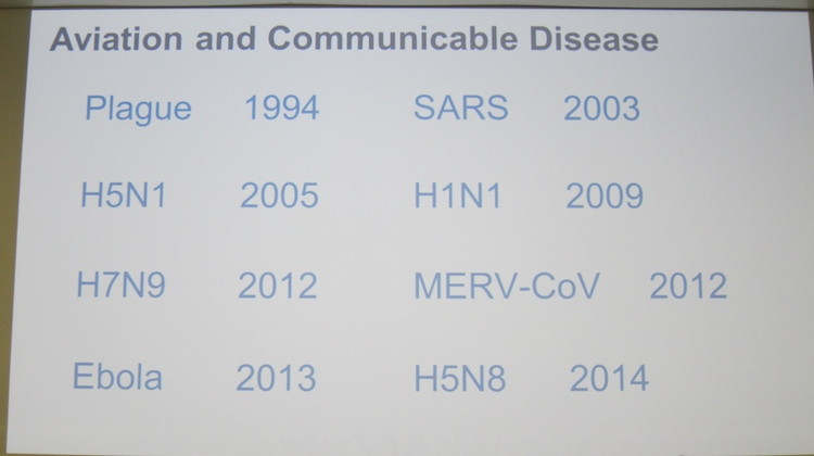 A slide from Dr Thibeault showing the diseases the aviation industry has faced.
