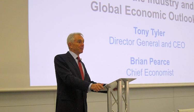 IATA chief executive Tony Tyler speaks at the global media day in Geneva.