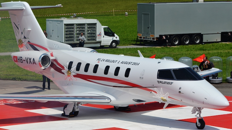 The Pilatus PC-24 at the roll out ceremony on August 1 2014. (Pilatus)