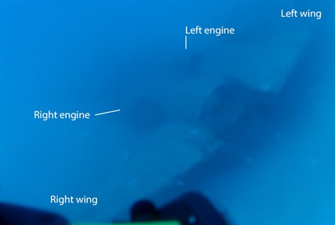 The Pel-Air Westwind corporate jet at the bottom of the ocean off Norfolk Island. (ATSB)