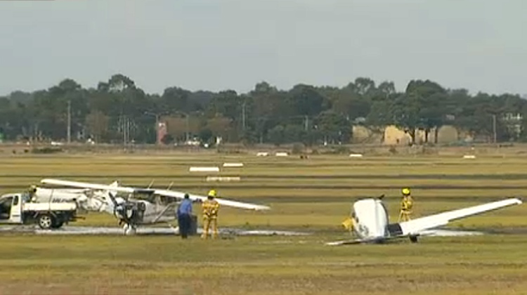 The scene of an aircraft collision at Moorabbin Airport on April 11. (Seven News)