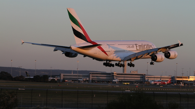 Emirates' first A380 service landing at Perth Airport on May 1 2015 (Brenden Scott)