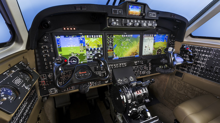 A supplied image of the new Pro Line Fusion avionics to be installed on the King Air 350 cockpit. (Beechcraft)