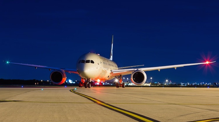 A file image of an Etihad Boeing 787-9 at Brisbane Airport. (Lance Broad)
