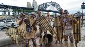 Hageulu Panpipers from the Solomon Island's at Sydney's Circular Quay. (Solomon Airlines)