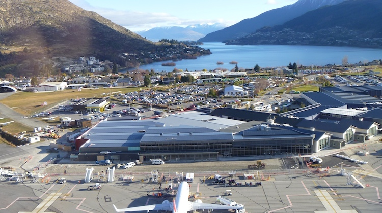 An aerial view of the expanded international terminal at Queenstown Airport. (Queenstown Airport Corporation)
