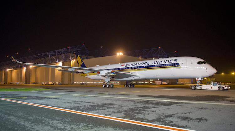 Singapore Airlines' firs Airbus A350-900 leaves the paint shop at Toulouse. (Airbus)