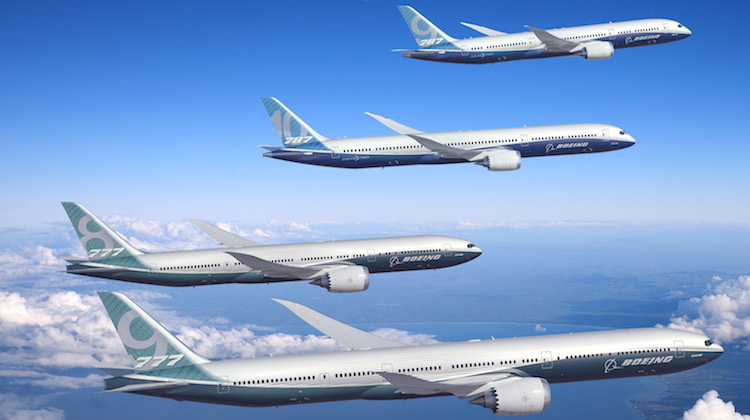 A supplied image of Boeing's 777-8, 777-9, 787-9 and 781-10. (Boeing)