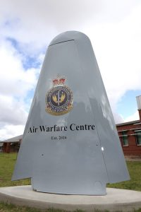 The newly unveiled 'Air Warfare Centre' (AWC) sign outside the AWC Headquarters at RAAF Base Edinburgh.
