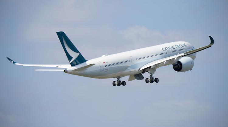 A supplied image of Cathay Pacific's first A350's maiden flight. (Airbus)