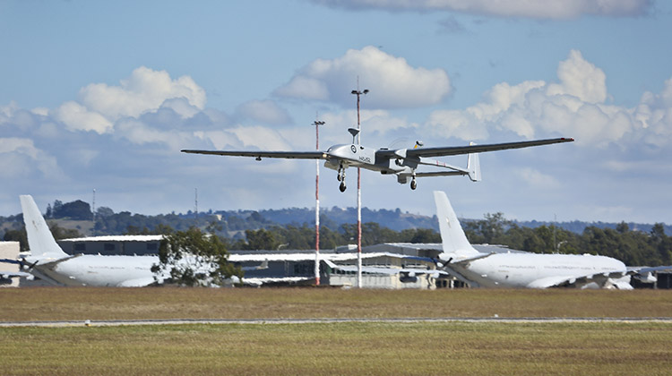 An A45 Heron Remotely Piloted Aircraft takes off at RAAF Base Amberley.