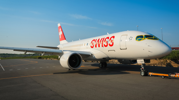 A file image of Swiss' first Bombardier CS100 leaving the paintshop. (Bombardier)