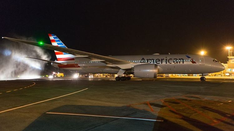 An American Airlines Boeing 787-8 at Auckland Airport after the inaugural flight in June 2016. (Auckland Airport/Facebook)