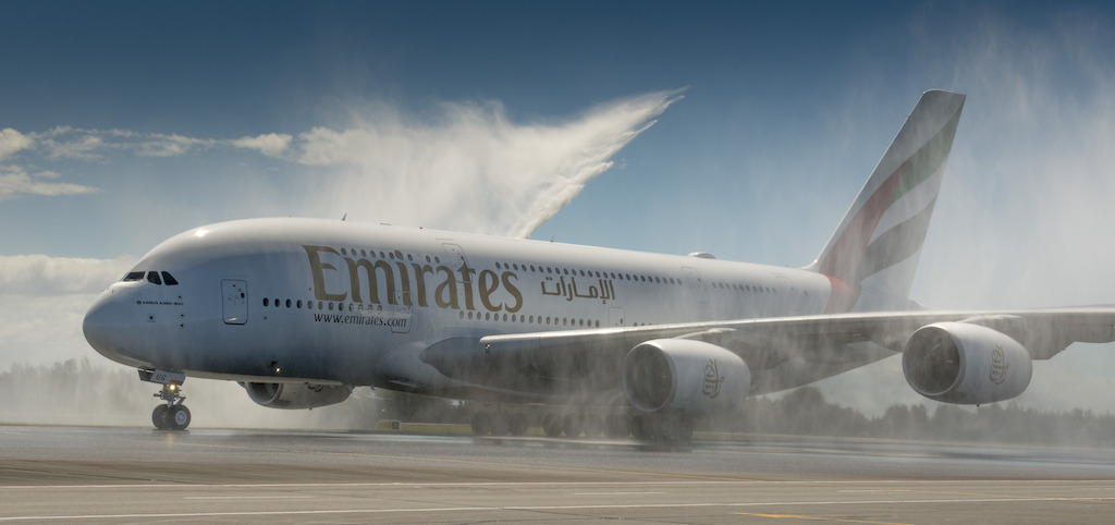 The Emirates inaugural A380 flight receives a celebratory welcome at Christchurch Airport. (Emirates)