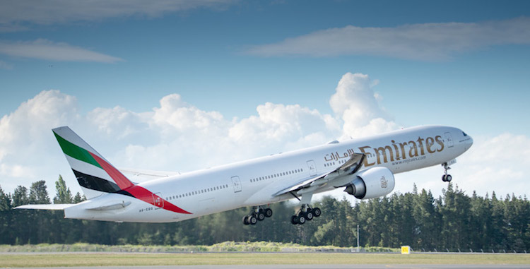 The last Emirates Boeing 777-300ER takes off at Christchurch Airport. (Waynne Williams)