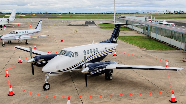 A file image of King Air VH-ZCR at Essendon Airport. (Mike Fosberg)