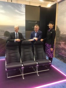 Arco Aircraft Seating and Air New Zealand launching the new Arco Series 6 seats at the Aircraft Interiors Expo in Hamburg. (Arco/Facebook)