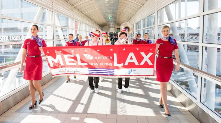 Virgin Australia celebrating the resumption of MEL-LAX nonstop flights. (Virgin Australia)