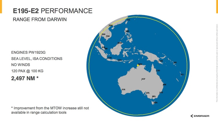 Destinations within range of Darwin with the E195-E2. (Embraer)