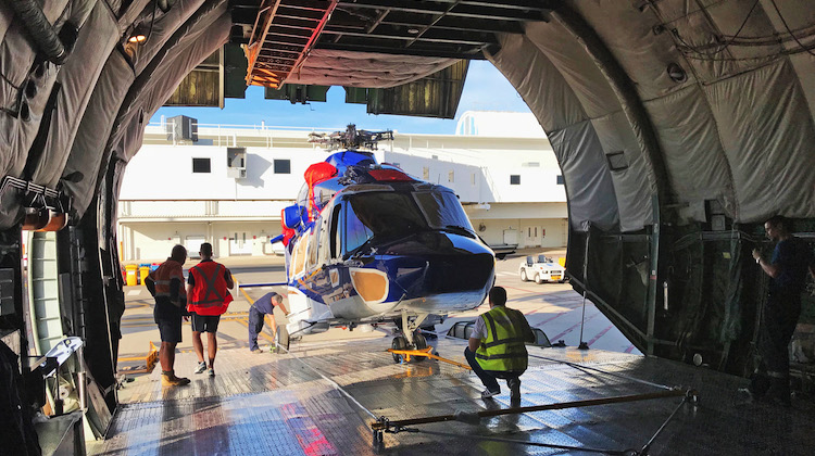 A Babcock Australasia Airbus Helicopters H175 being unloaded at Darwin Airport. (Babcock Australasia)