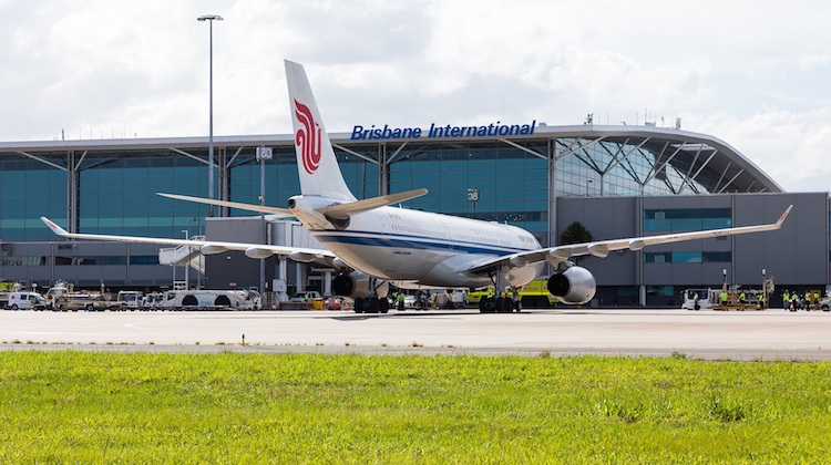 Air China Airbus A330-200 B-6113 at the Brisbane Airport international terminal. (Lance Broad/Brisbane Airport)