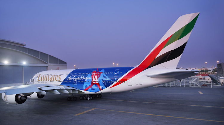 Emirates Airbus A380 A6-EON in Los Angeles Dodgers livery. (Emirates)