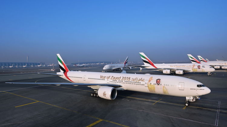 Emirates' aircraft at Dubai featuring the Year of Zayed 2018 special livery. (Emirates)