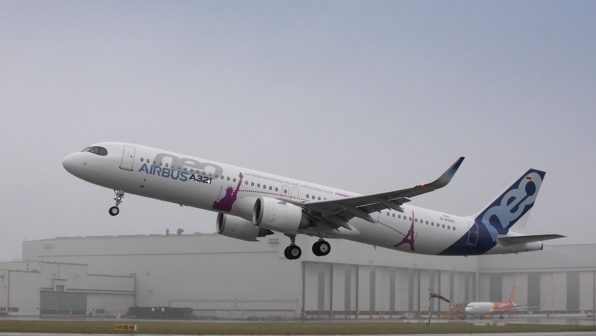 A file image of the Airbus A321LR taking off on its first flight. (Airbus)