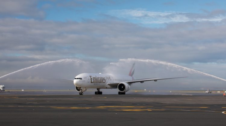 Emirates's inaugural Bali-Auckland gets a traditional welcome at Auckland Airport. (Emirates)