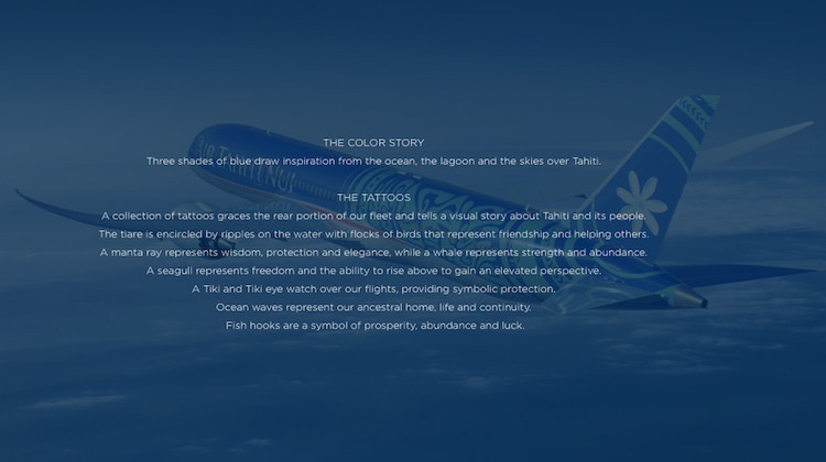 A description of the meaning behind the tattoos on the Air Tahiti Nui livery. (Air Tahiti Nui)