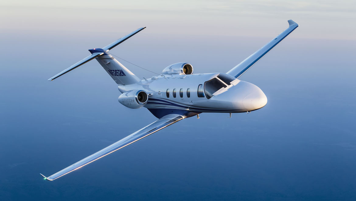 The Cessna Citation M2 at Grand Lake of the Cherokee in Oklahoma. (Textron Aviation)