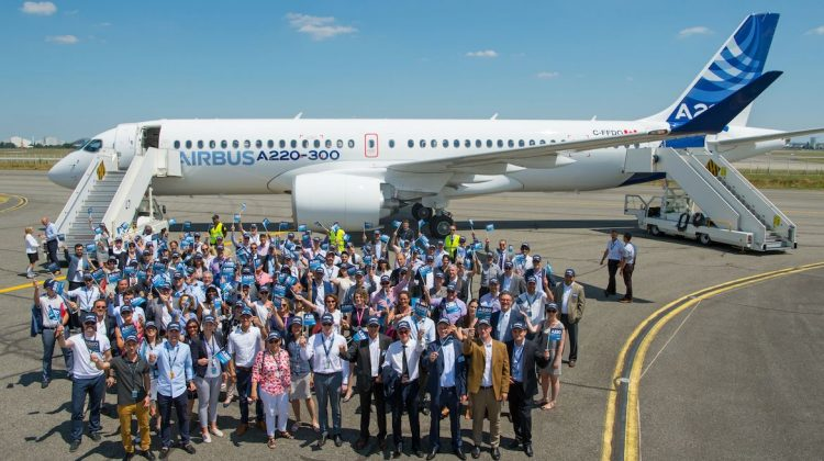 Airbus and Bombardier staff welcome the Airbus A220. (Airbus)