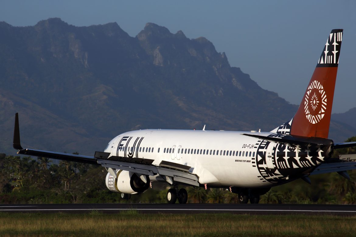 Fiji Airways Boeing 737-800 touches down at Nadi Airport. (Rob Finlayson)