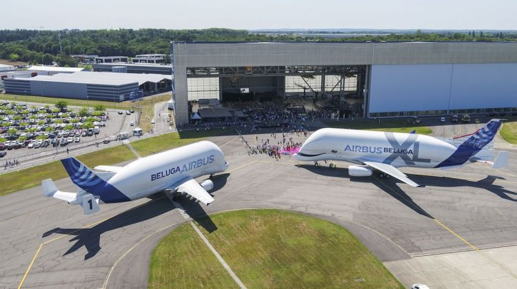 The BelugaST and BelugaXL side by side. (Airbus)