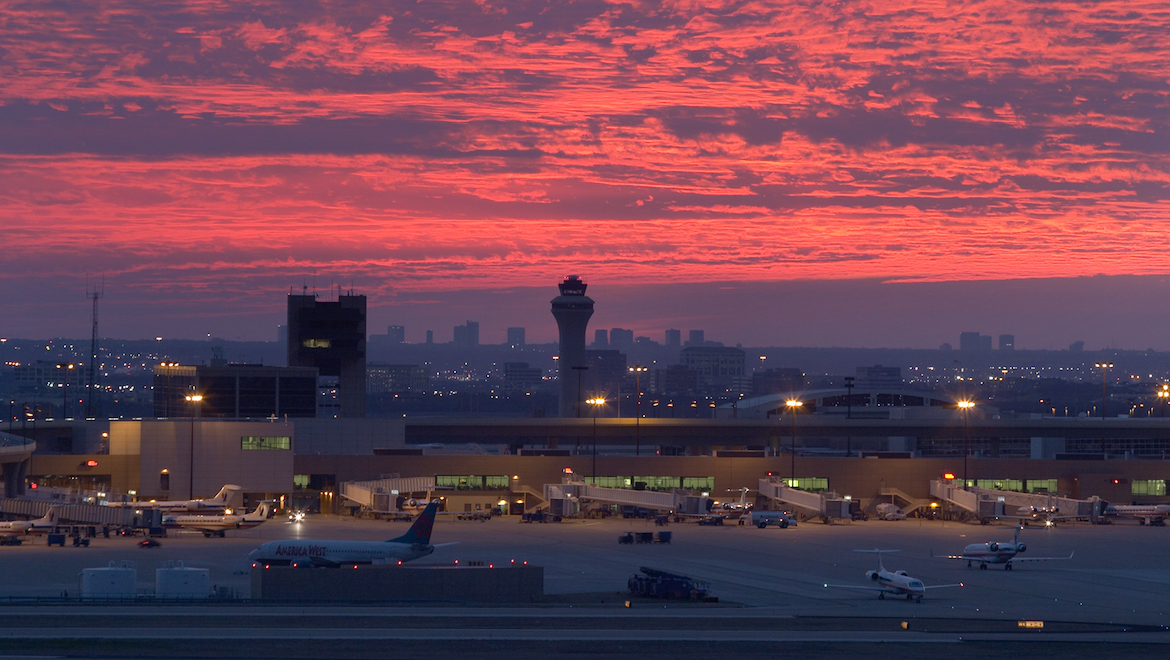 A file image of Dallas/Fort-Worth Airport in the early evening. (DFW Airport)