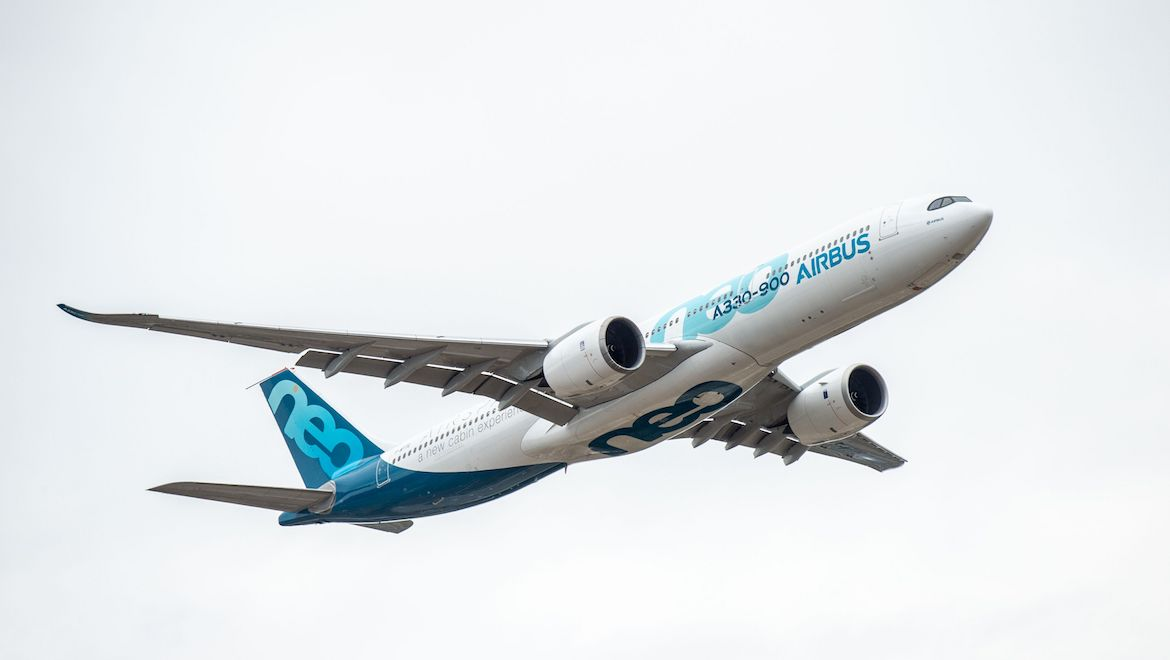 Airbus A330-900 flying display on Day 1 of Farnborough 2018. (airbus)