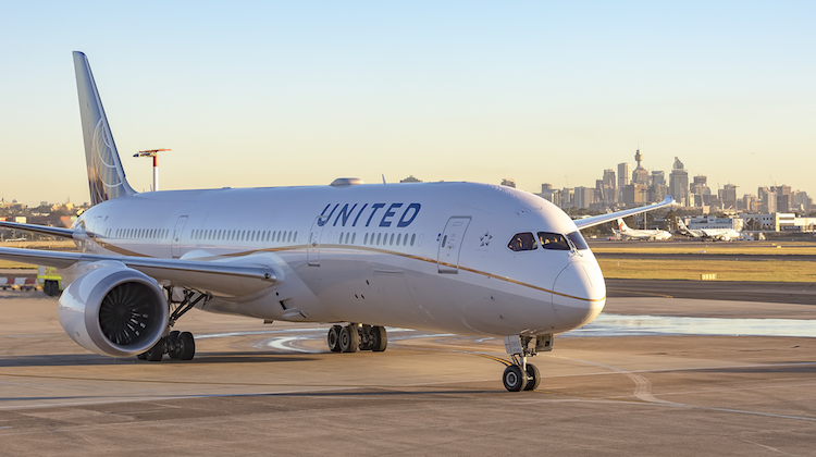 United Boeing 787-9 N35393 at Sydney Airport. (Kurt Ams/Sydney Airport)