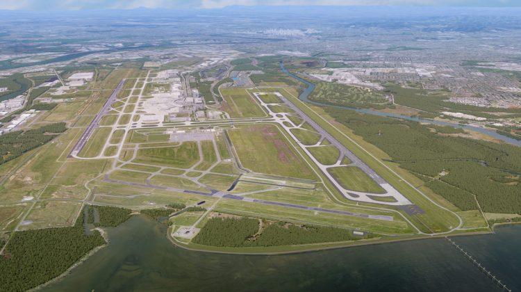 An artist impression of Brisbane Airport's new runway. (Brisbane Airport)
