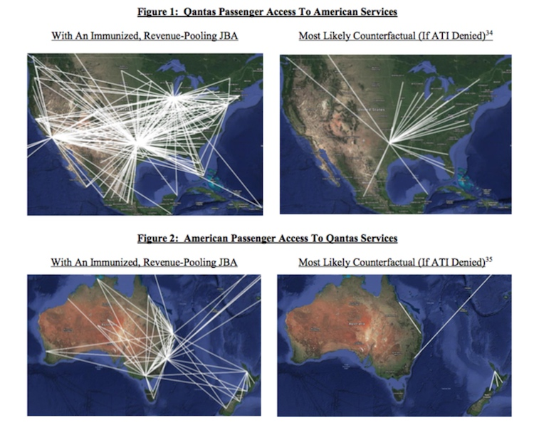 Qantas and American's potential trans-Pacific network with and without ATI. (American/Qantas)
