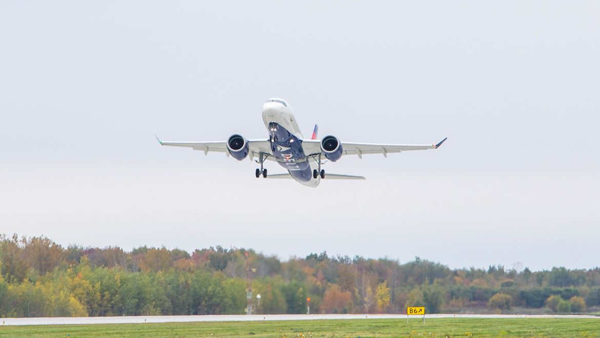 Delta Air Lines first Airbus A220-100 takes off on its maiden test flight. (Airbus)