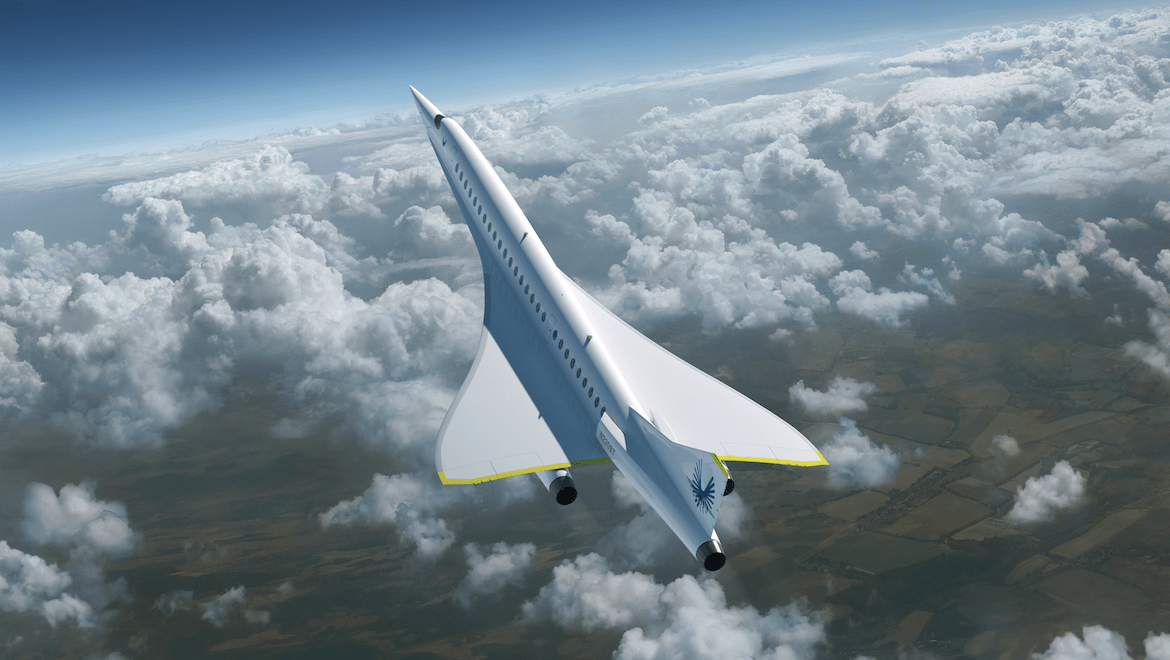 """Boom is promising practical supersonic flight """"on hundreds of transoceanic routes – making it the new norm for anyone who flies business class"""". (BoomSupersonic)"""