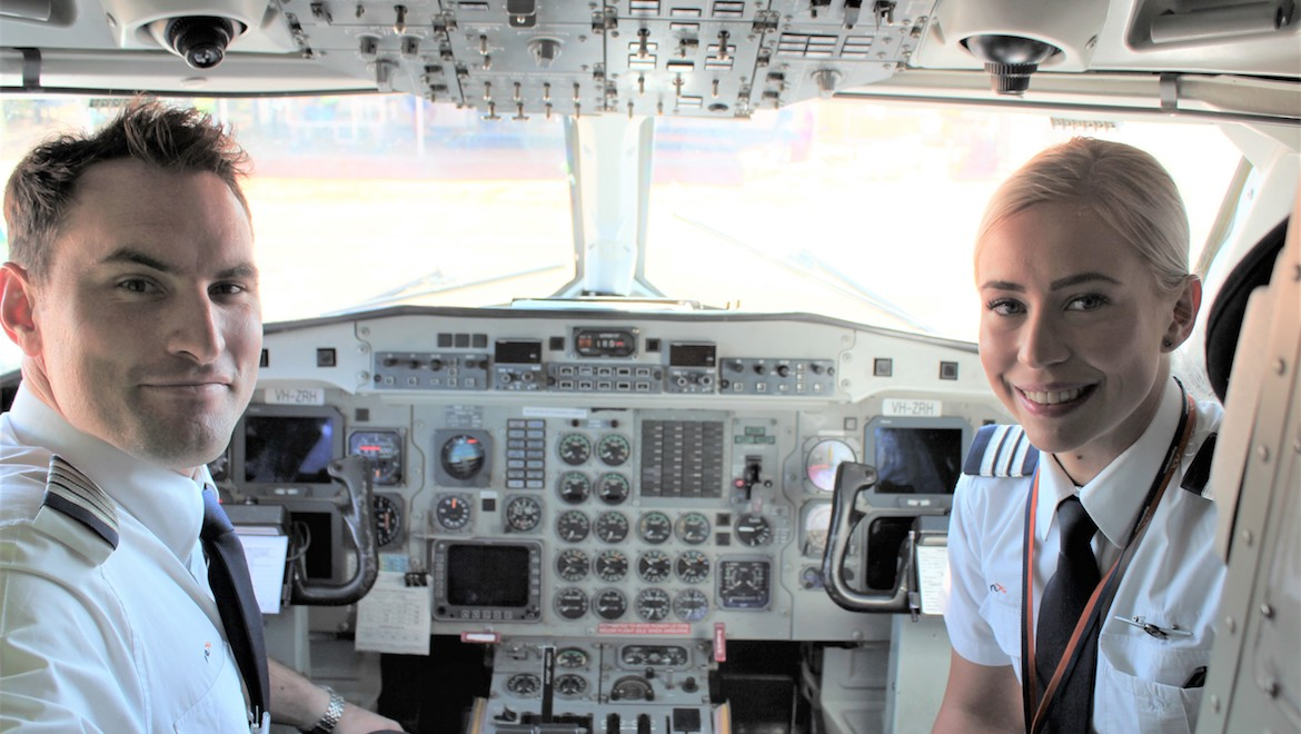 Regional Express Captain Hayden Godwin and First Officer Molly Morris‑Howes in the flight deck of Saab 340 VH-ZRH. (Steve Gibbons)