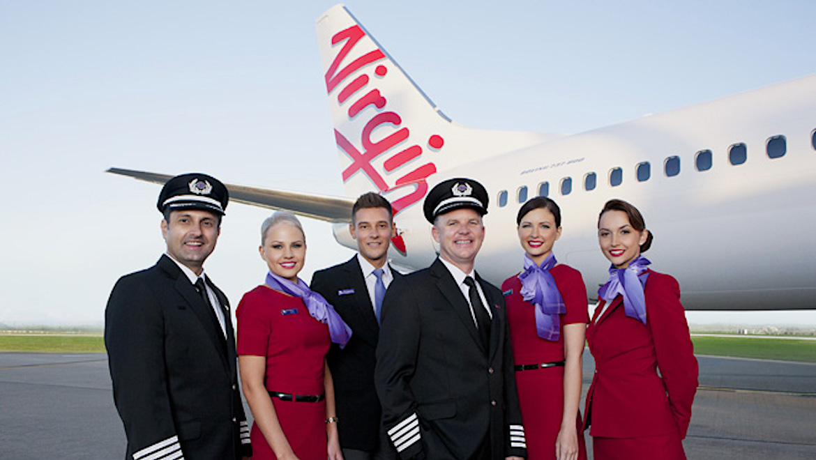A film image of Virgin Australia pilots and cabin crew. (Virgin Australia)