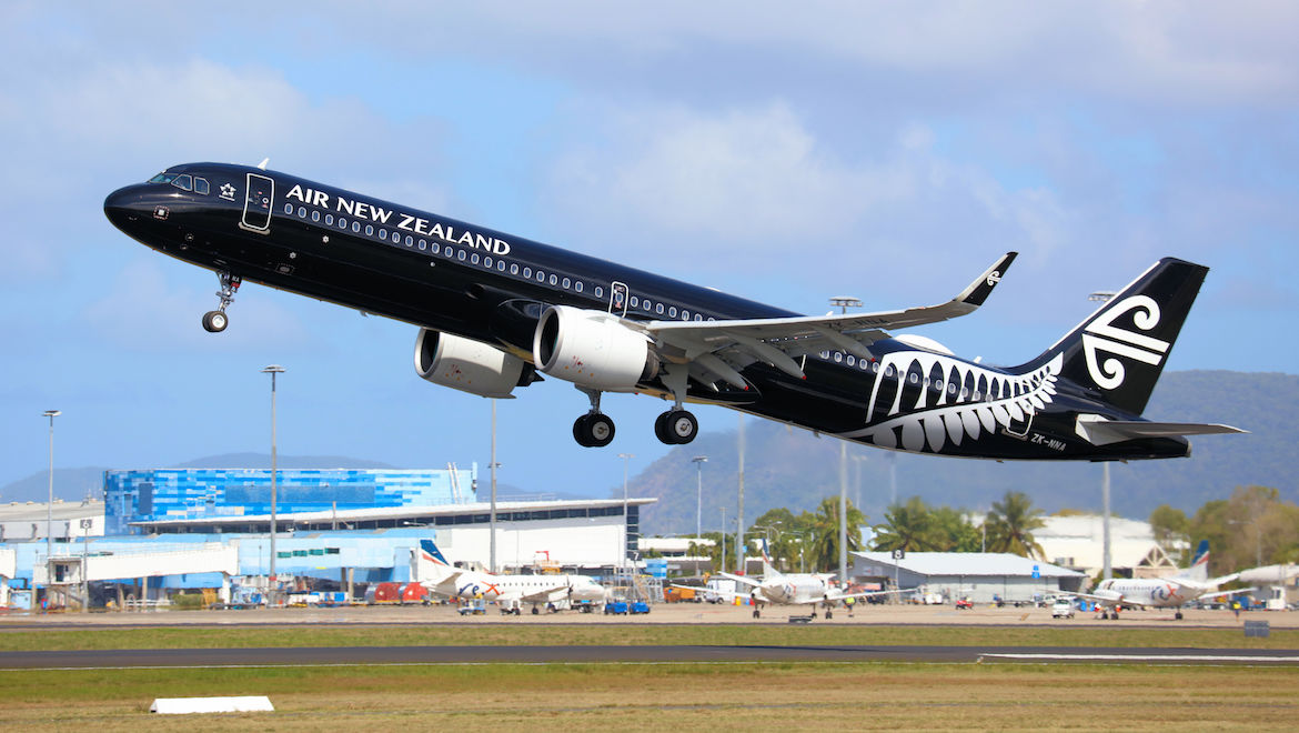 Air New Zealand Air bus A321neo ZK-NNA takes off from Cairns Airport. (Andrew Belczacki)