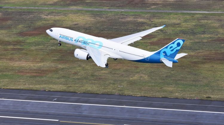 The first A330-800 takes off on its maiden flight. (Airbus)